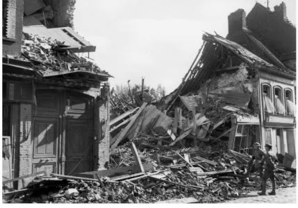 Hazebrouck- shell damaged store. Photographer unknown, photograph source AWM E2285