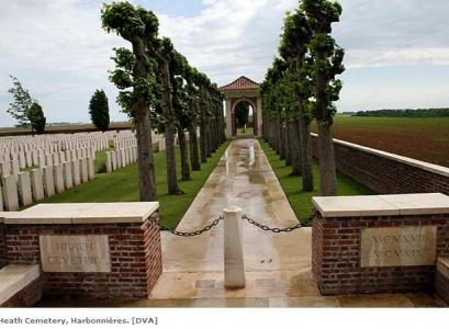 Heath Military Cemetery, Harbonnieres. Photograph source WW1 Western Front web