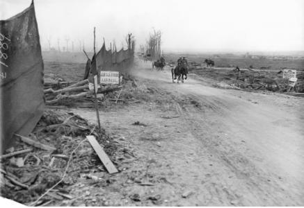 Hellfire Corner, Menin Road, 1918. Photographer unknown, photograph source AWM E01889