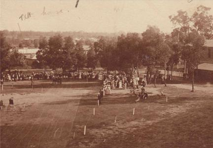 Hewitt House(marked TCH House) at GGS pre WW1 Athletics Day. Photographer unknown, photograph sourced from and used with permission of GGS Archives