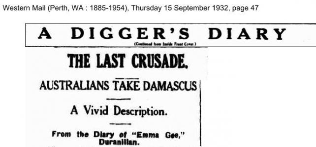Hilton Mclean Campbell's diary on the charge at Damacus. Source Western Mail 15.9.1932 p47