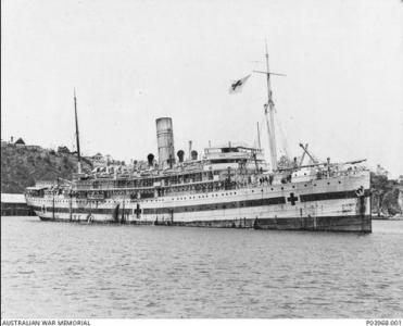 Hospital Ship  'Karoola'. Photographer unknown, photograph source AWM P03968.001