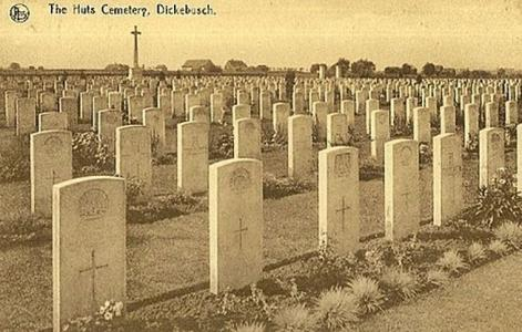 Huts Cemetery, Dickebusche. Postcard image, photograph source WW1 cemeteries