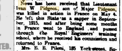 I.F.W.Pidgeon. Image source West Australian Newspaper 16.5.1917 p7