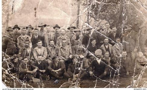 Informal group of POWs held at Afyonkarahissar Camp, Turkey. Photographer unknown, photograph source AWM  P09645.001