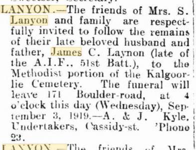 J. C. Lanyon. Image source Kalgoorlie Miner. Family Notices  3.9.1010 p2
