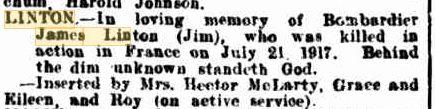 James Linton. Image source Western Mail, Family Notices 17.8.1917 p27