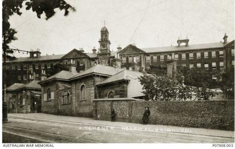 Kitchener Hospital, Brighton, Sussex 1917-18. Photographer unknown, photograph source AWM P07908.003