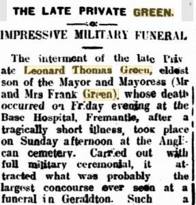 L.T. Green. Image source Geraldton Guardian 15.1.1918 p2