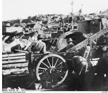 Landing Engineering appliances at Gallipoli 1915. Photographer C.E. Bean, photograph source AWM G0144