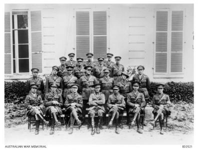 Lieut. A.J. Bussell 2nd row 3rd from right.10th Bde. AFA. Cocquerel France 1918. Source AWM E02521
