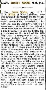 Lieut E. Wicks. Camp Chronicle Midland 18.7.1918 p6