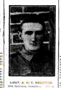 Lieut. A.H.T Mountain. Photo source Sunday Times 9.5.1915 p3