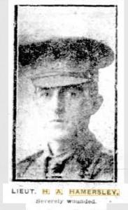 Lieut. H.A.Hamersley. 1915. Photograph source Sunday Times 19.9.1915 p1