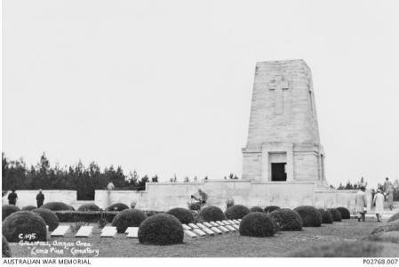 Lone Pine Memorial Gallipoli 1936. Photograph donor J. Richter, photograph source AWM P02768.007