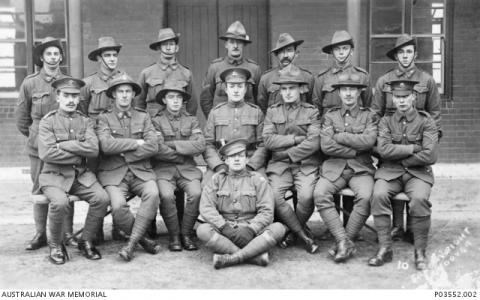 43rd Battalion. Cpl R.W.  Masters from 6th left in backrow. Photo source AWMP03552.002