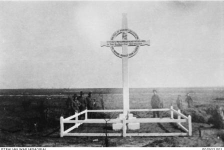 Memorial to the Australian soldiers and officers who fell at Mouquet Farm and Pozieres 1916. Photographer unknown, photograph source AWM P039001