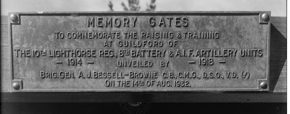 Memory Gates Guildford- Plaque unveiled by Brig. Gen. Bessell-Browne in  Stirling Square Guildford