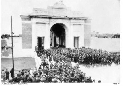 Menin Gate War Memorial 1938. Secured by Captain James Murphy of the British War Graves Commission. Photograph source AWM H16916