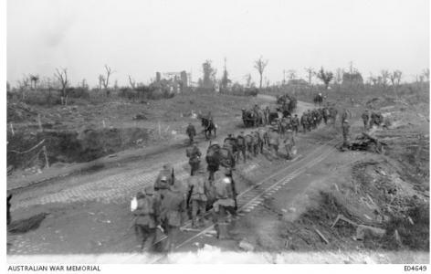 Menin Road. Soldiers marching to the front 1917. Photographer unknown, photograph source AWM E04649