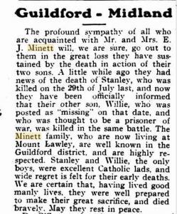 Minett, S J and W H. Article in The Record (Perth WA) 10.3.1917 p 7