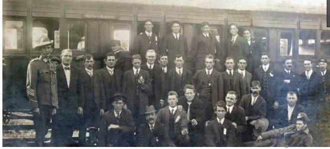 New Enlistments at Bunbury Station. Bunbury Herald 18.8.1914 p1.  A H L Milford back row far right