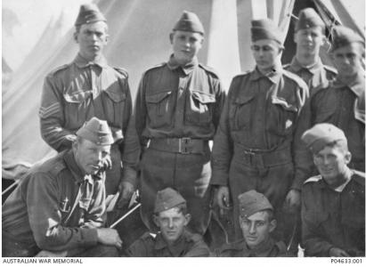 Nine members of the 10th Bn. with Teesdale Smith in Lower Rt. Cnr. Photographer unknown, photograph sourced AWM P04633.001
