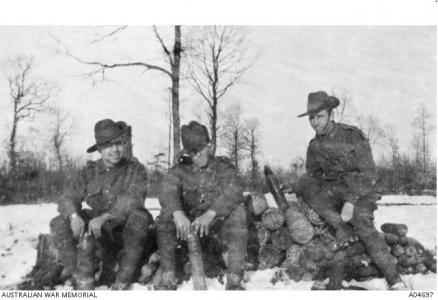 North Russian Relief Forces. 3 unidentified Australians from the 45th Bn. of Royal Fusiliers 1919. Photographer not known,  photograph source AWM A0469