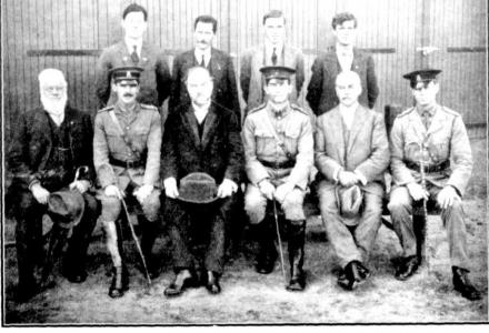 Officers at Guildford Artillery Camp-opening of the YMCA Hall. Lieut. Roebuck front row 2nd from left. Photograph source Western Mail 9.6.1916 p23