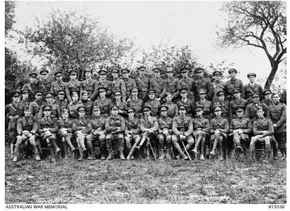 Officers, 3rd Squadron AFC. Premont, France Oct.1918 (Blundell Middle row 4th from Rt) Photo source AWM H1533