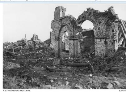 Only wall standing in Messines, in the Town Square 17.6.1918.  Photographer unknown, image courtesy AWM E01484