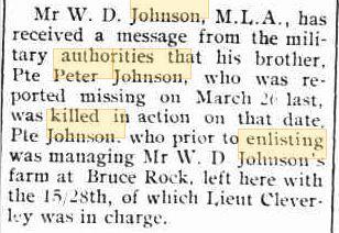 P. Johnson. Image source Swan Express 31.8.1917 p2