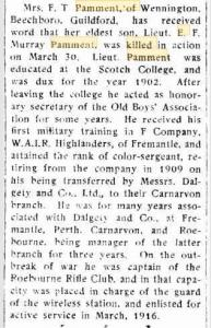 Pamment E.R.M (Murray). Photograph source Swan Express 19.4.1918 p5