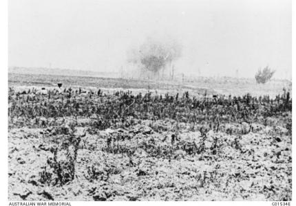 Pozieres under German bombardment. Photographer unknown, photograph source AWM G01534