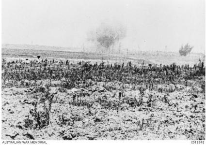 Pozieres under attack by German artillery. Photographer unknown, photograph source AWM G01534E
