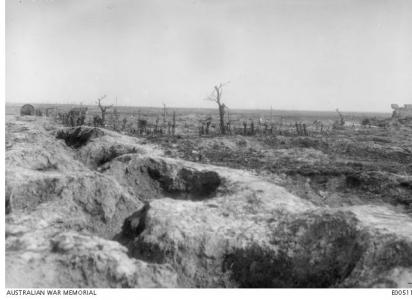 Pozieres village destroyed by shell fire 1916. Photographer unknown, photograph source AWM E00511
