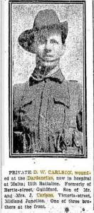 Pte. D. W. Carlson. Photograph source Daily News 27.8.1915