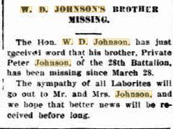 Pte. P. Johnson. Westralian Worker. Perth 20.4.1917 p1