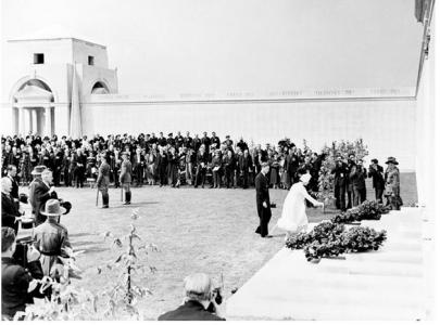 Queen Elizabeth placing a wreath at the opening of the Villers-Bretonneux Memorial, France 1938. Photographer unknown,  photograph source AWM H17477
