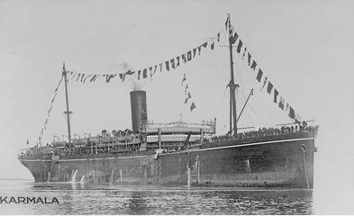 RMS 'Karmala'. Photograph sourced and reproduced with permission of Great Southern Cards