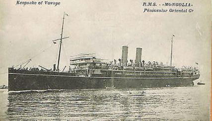 RMS 'Mongolia'. Post card for the Peninsula Orient Coy