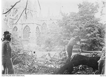 Recovering patients working on the grounds of Exeter Catherdral 1918. Photograph sourced AWM A01912