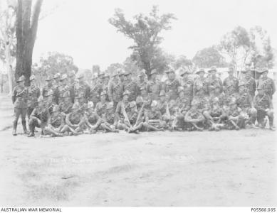 Tpr. Reginald Sanford King( 2nd row 5th from right) with 10/10 LH Blackboy Hill 1915. AWM P05566.035