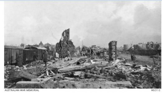 Remains of a Railway Station at Albert 1917. Photographer unknown, photograph source AWM H02112