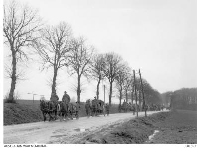 Road to Amiens 1918. Phootgrapher unknown, photograph AWM E01952