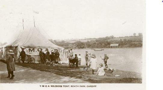 Roath Park, YMCA soldiers' tent for convalescing  soldiers. Postcard source