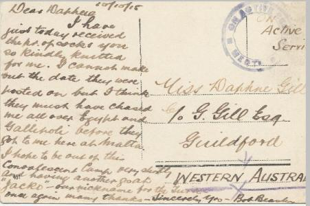 Robert Beasley. Post card to Daphne Gill 1915. Image from Gill Collection, reproduced courtesy C.Warren