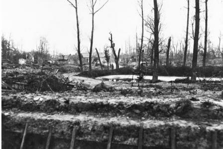 Ruined Village of Hebuterne, France May 1918, note shell hole mid picture. Photographer unknown, photograph source AWM AO2537