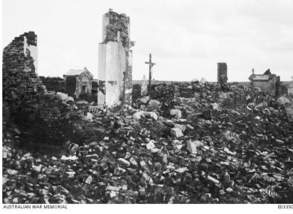 Ruins of Church at Jeancourt Picardie France 10.9.1918, photographer unknown, photograph source AWM E03350