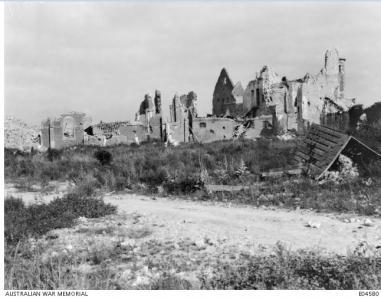 Ruins of Lagnicourt Church 1917, Photographer unknown, photograph source AWM E04580